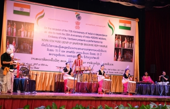 Indian Folk Music Group from Manipur in Vientiane on 20 August 2017 - 70th Anniversary of Indias Independence celebrations