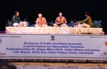 Performance by Padmabhushan Pt. Rajan Misra and Sajan Misra at Don Chan Palace Hotel, Vientiane on 13th March, 2018