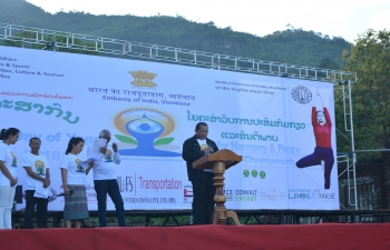 4th International Day of Yoga celebrations at Vat Phou Heritage sight, Champasak Province on 19th June 2018
