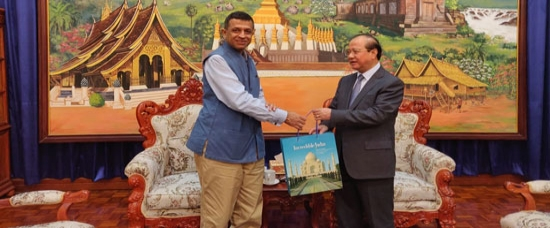 H.E. Mr. Dinkar Asthana, Ambassdor of India to Lao PDR made a courtesy call on H.E. Prof. Dr. Bosengkham Vongdara, Minister of Information, Culture & Tourism, Lao PDR on 19 September, 2019.