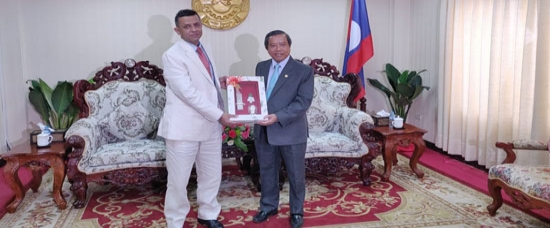 H.E. Mr. Dinkar Asthana, Ambassador of India to Lao PDR made a courtesy call on H.E. Prof. Dr. Boviengkham Vongdara, Minister of Science and Technology, Lao PDR on 5 September, 2019