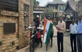 Ambassador Dinkar Asthana flagged off Mr. Joshuva Daniel and Mr. Ji Ingobi Chingtham, solo riders from India, touring South East Asia by motorcycle and bicycle respectively.