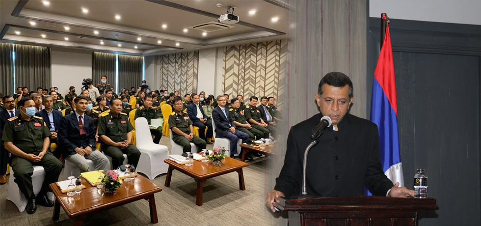 H.E. Mr Dinkar Asthana, Ambassador of India to Lao PDR addressing the invitees at the Silver Jubilee event of Indian Army Training Team, Lao PDR