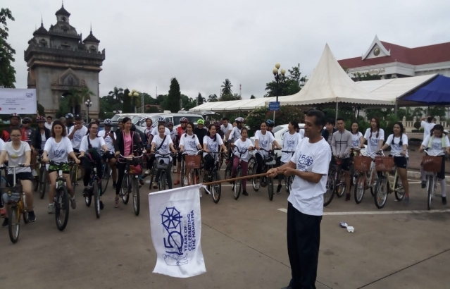 Cycling event in Mahatma Gandhis memory in Vientiane on Sunday, May 2, 2019