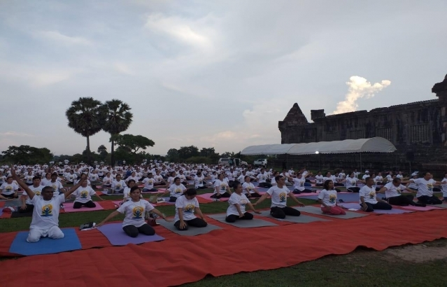 5th International Day of Yoga 2019 celebrations by Embassy of India, Vientiane at Vat Phou Heritage Site, Champasak Province on 20 June 2019