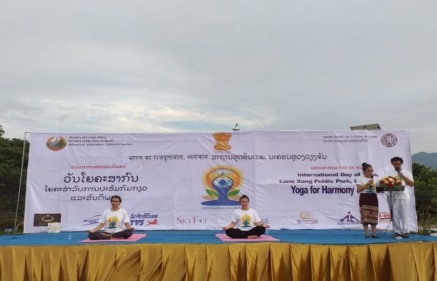 5th International Day of Yoga 2019 celebrations by Embassy of India, Vientiane at Lane Xang Public Park, Luang Prabang on 25 June 2019