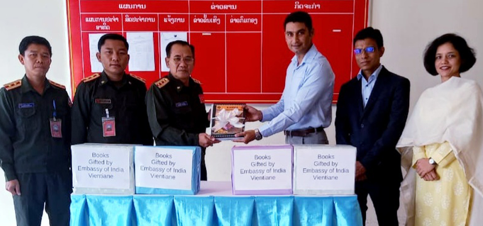 Embassy handed over 100 books to Kaysone Phomvihane Academy of National Defence, Laos as a gift from India