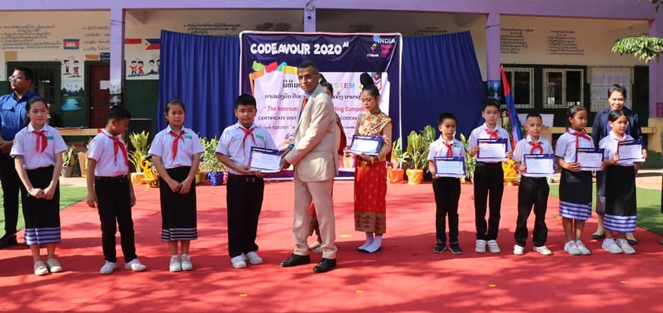 Ambassador Dinkar Asthana gave out Participation Certificates to students of Chomkham School, Vientiane for 'Stem Codeavour 2020 AI' international online Artificial Intelligence and coding competition for kids, by STEMpedia Ahmedabad, India that produces innovative STEM teaching kits for children.