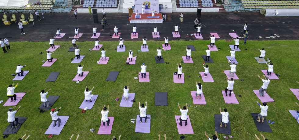 Celebration of 7th International Day of Yoga in Vientiane on 26 June 2021